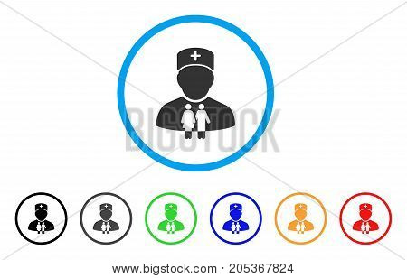 Family Doctor rounded icon. Style is a flat family doctor grey symbol inside light blue circle with black, gray, green, blue, red, orange versions. Vector designed for web and software interfaces.