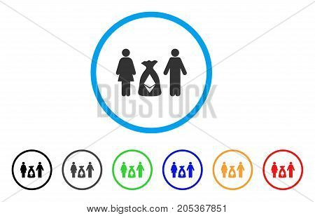 Family Ethereum Deposit Bag rounded icon. Style is a flat family ethereum deposit bag gray symbol inside light blue circle with black, gray, green, blue, red, orange variants.