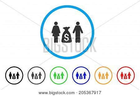 Family Money Deposit rounded icon. Style is a flat family money deposit gray symbol inside light blue circle with black, gray, green, blue, red, orange variants.