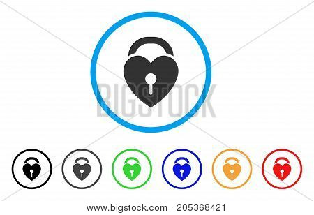 Love Heart Lock rounded icon. Style is a flat love heart lock gray symbol inside light blue circle with black, gray, green, blue, red, orange color versions.