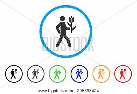 Lover With Flower rounded icon. Style is a flat lover with flower gray symbol inside light blue circle with black, gray, green, blue, red, orange variants.