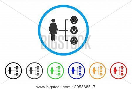 Nursery Kids Relations rounded icon. Style is a flat nursery kids relations grey symbol inside light blue circle with black, gray, green, blue, red, orange color versions.