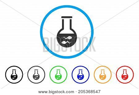 Sperm Flask rounded icon. Style is a flat sperm flask gray symbol inside light blue circle with black, gray, green, blue, red, orange color versions. Vector designed for web and software interfaces.
