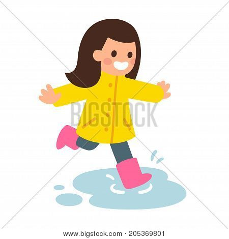 Cute cartoon girl in raincoat and rubber boots jumping in puddles. Happy kid playing in the rain. Flat style vector illustration.