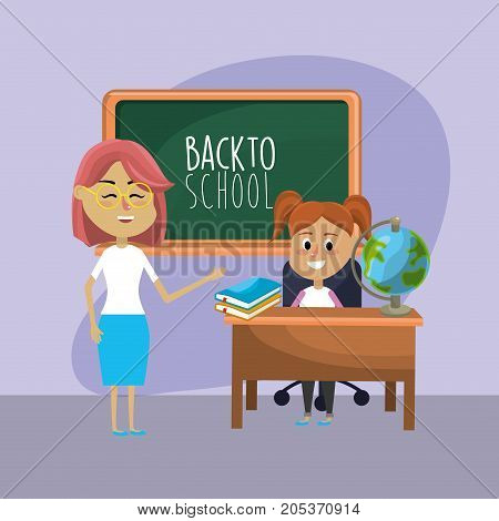 teacher woman educated the student vector illustration design