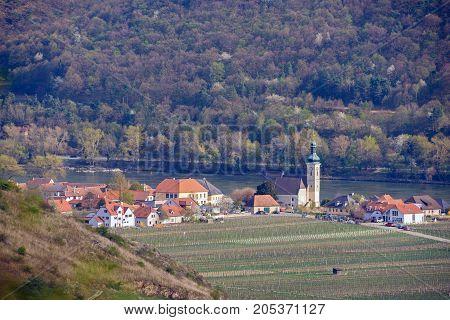 Aerial view of the Wachau valley. Grape fields near the town of Unterloiben (Duernstein) in Lower Austria.