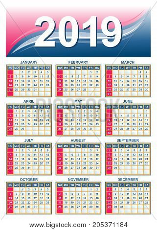 Template - USA (american) calendar grid 2019 in vector