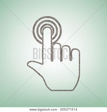 Hand click on button. Vector. Brown flax icon on green background with light spot at the center.