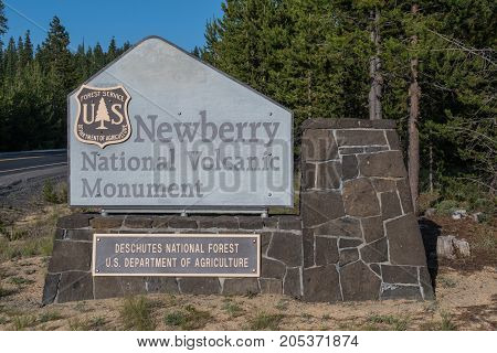 Bend United States: July 20 2017: Newberry National Volcanic Monument Sign