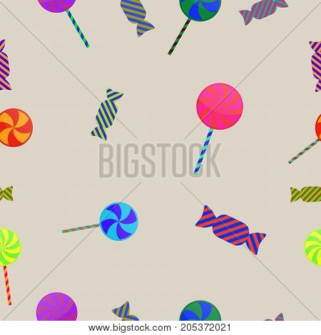 Halloween Lollipop And Toffee Candy Sweet Seamless Pattern Background