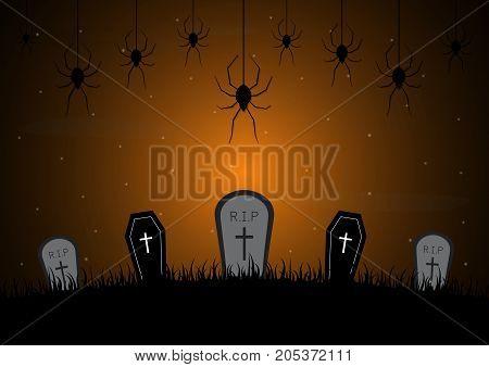 Halloween Gravestone Graveyard Coffin Spider Web Background