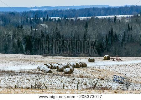 Wisconsin farmland with round bales of hay in winter