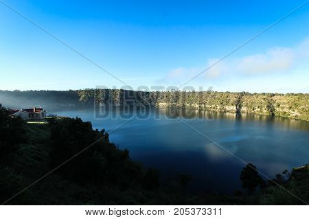 building overlooking the famous Blue Lake in Mount  Gambier, Australia