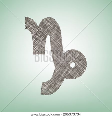 Capricorn sign illustration. Vector. Brown flax icon on green background with light spot at the center.