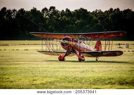 Waco biplane after landing at the 2016 Flying Circus Airshow in Bealeton Virginia