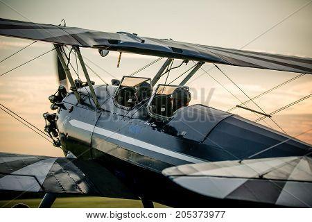 Stearman biplane preparing for takeoff at the 2016 Flying Circus Airshow in Bealeton Virginia