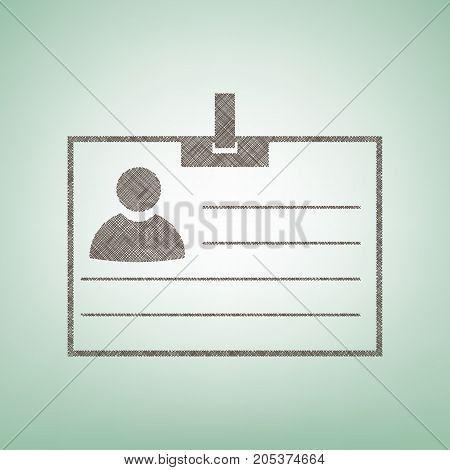 Id card sign. Vector. Brown flax icon on green background with light spot at the center.