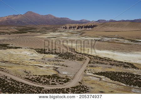 Quebrada Chuba, a wide river valley high on the Altiplano of northern Chile in Lauca National Park.