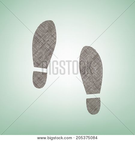 Imprint soles shoes sign. Vector. Brown flax icon on green background with light spot at the center.