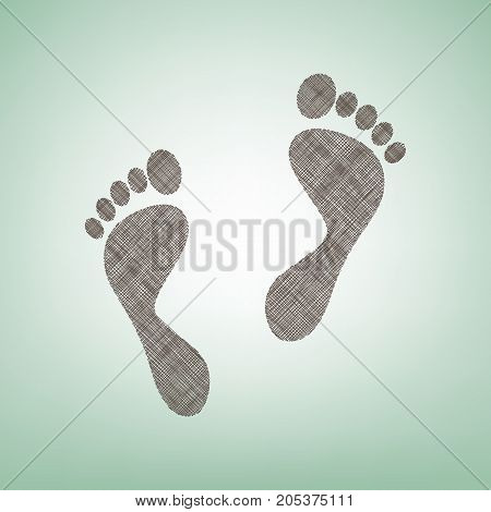 Foot prints sign. Vector. Brown flax icon on green background with light spot at the center.