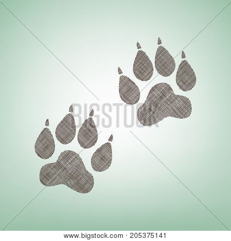 Animal Tracks sign. Vector. Brown flax icon on green background with light spot at the center.