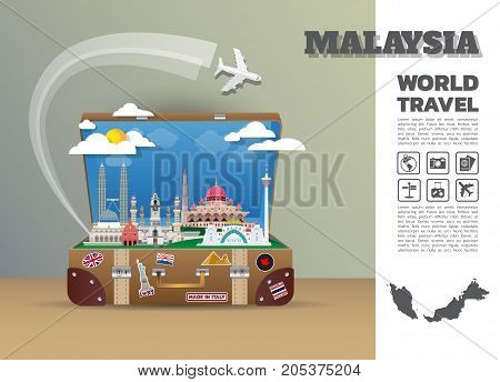 Malaysia Landmark Global Travel And Journey Infographic Luggage.3D Design Vector Template.vector/ill