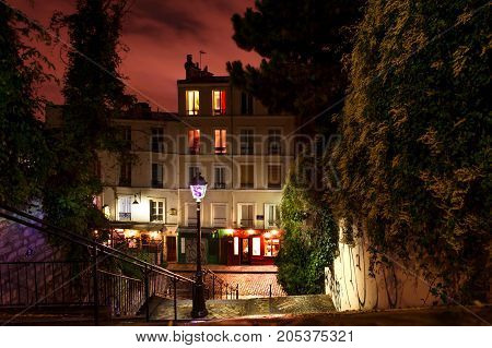 PARIS, FRANCE - 12th of OCTOBER 2012: Montmartre by night, Paris. October 12th, 2012. Paris, France.