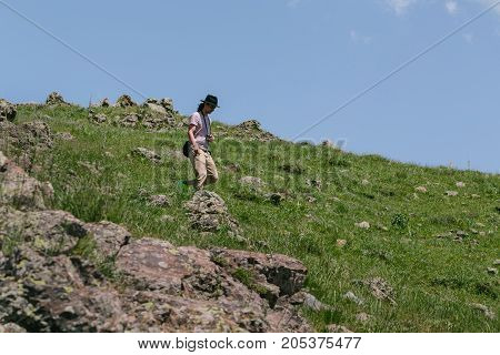 Tourist walks in Armenia. horizontal shot in the afternoon