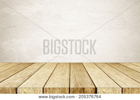Empty perspective wood and brown cement wall background room table top shelf for product display montage background mock up vintage style