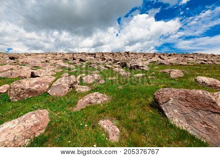 Stones on Mount Aragats, Armenia. horizontal shot