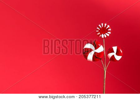 Christmas ornament or decoration with copyspace on deep red background
