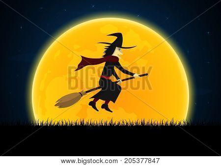 Halloween Witch On Broom Moon Graveyard