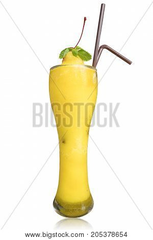 Mango smoothies in clear glass isolate on white background with clipping path Food and drink object.