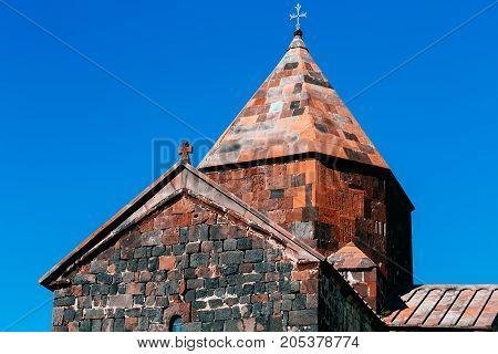 The Armenian temple close-up. horizontal day shot