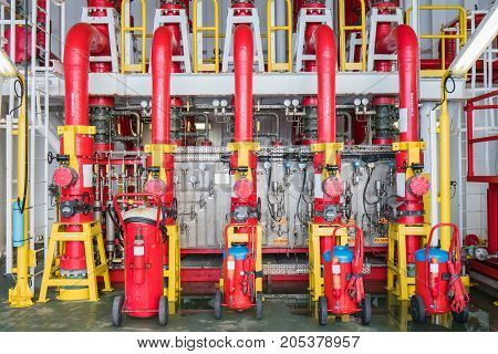 Fire protection system Deluge valve and fire water header to distribute high pressure water to risk area for firefighting.