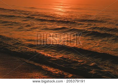 Waving Sea During Sunset