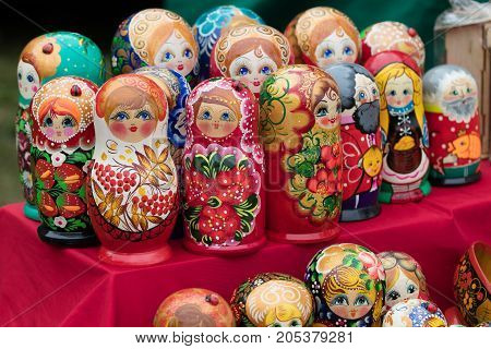 Russian wooden nested dolls. horizontal day shot close-up