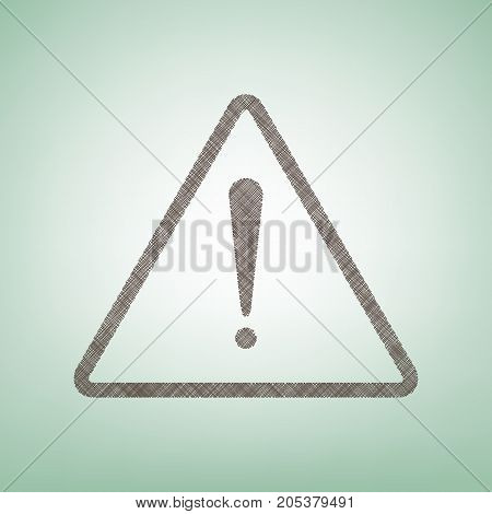 Exclamation danger sign. Flat style. Vector. Brown flax icon on green background with light spot at the center.