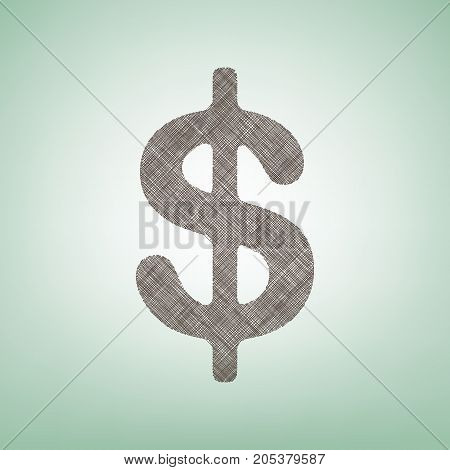 Dollars sign illustration. USD currency symbol. Money label. Vector. Brown flax icon on green background with light spot at the center.