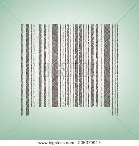 Bar code sign. Vector. Brown flax icon on green background with light spot at the center.