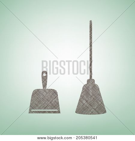 Dustpan vector sign. Scoop for cleaning garbage housework dustpan equipment. Vector. Brown flax icon on green background with light spot at the center.
