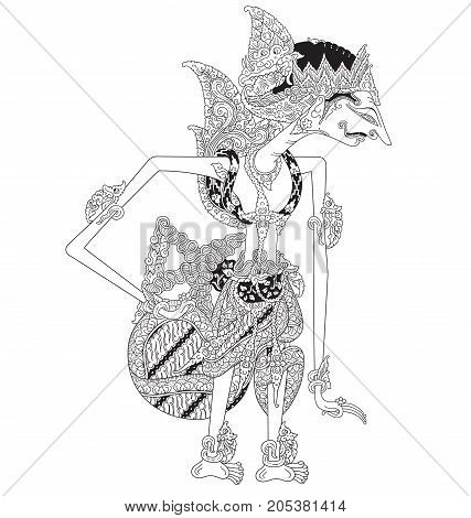 Jungkungmardeya a character of traditional puppet show, wayang kulit from java indonesia.