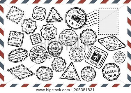 Composition with collection of grungy stamps with text and postmarks on rectangular postal envelope. Postal Stamps set in different shapes from 23 city in the world. Vector illustration