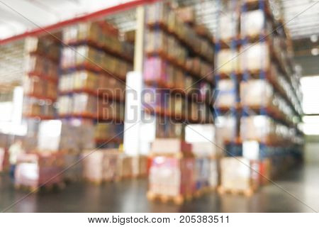 De-focused Warehouse Racks With Inventory