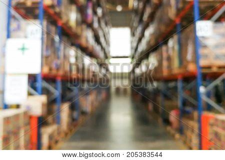 De-focused Warehouse Racks With Inventory