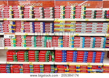 Kuala Lumpur, Malaysia, September 10, 2017:  Colgate Toothpaste Is The Market Leader In The Malaysia