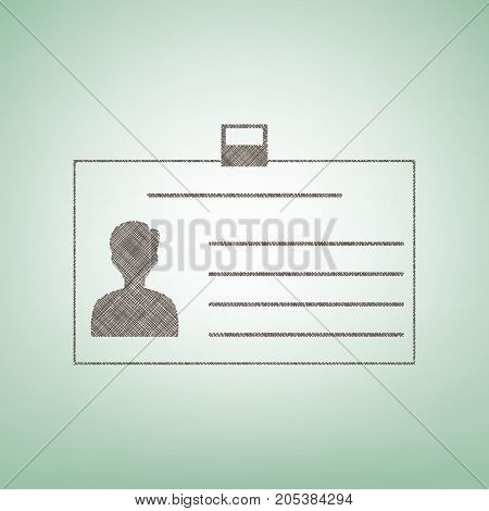 Identification card sign. Vector. Brown flax icon on green background with light spot at the center.