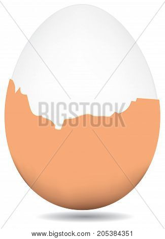 Partially peeled boiled egg brown shell. Vector.