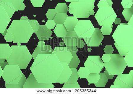 Green Hexagons Of Random Size On Black Background