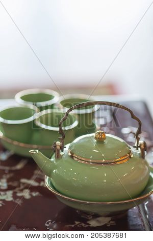 chinese teapot on table - Stock Image